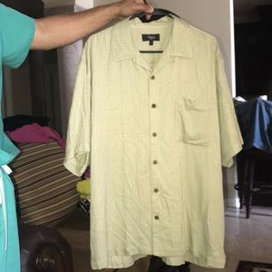 Mens Green Olive Vilini button down short sleeve